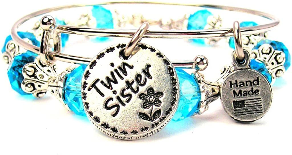ChubbyChicoCharms Twin Sister Circle Collection Crystal Bangle Set in Aqua Blue