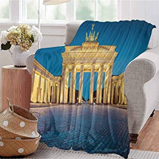 KFUTMD Soft Lightweight Blanket Classic View of Famous Brandenburg Gate Germany National Symbol and Landmark Blue Yellow Pink Dorm Bed Baby Cot Traveling Picnic W40 xL60
