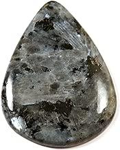 Gems&Jewels Larvikite Blue Norwegian Moonstone Pear Natural Cabohcon Gemstone 34.85ct IG39