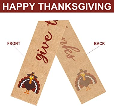 Mosoan Burlap Thanksgiving Table Runner - 13 x 72 Inches - Rustic Give Thanks Table Runner for Fall Thanksgiving Family Gathe