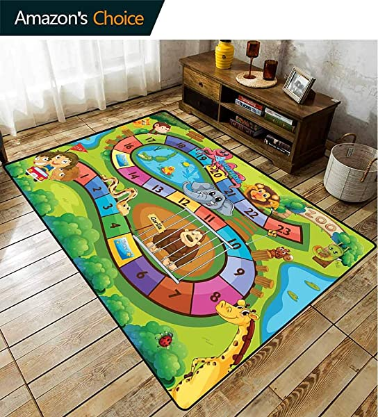 Bigdatastore Kids Activity Paisley Door Mats Outdoor A Day In A Zoo Themed Cartoon Style Children And Exotic Animals Gorilla Lion Fashionable High Class Living Bedroom Rugs 3 X 5