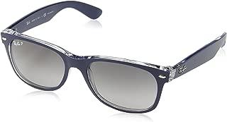 RAY-BAN RB2132 New Wayfarer Polarized Sunglasses, Blue On Transparent/Polarized Grey Gradient, 55 mm
