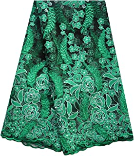 SanVera17 African Lace Net Fabrics Nigerian French Fabric Rope Embroidered and Manual Beading Guipure Cord Lace for Party Wedding 5 Yards (Green)