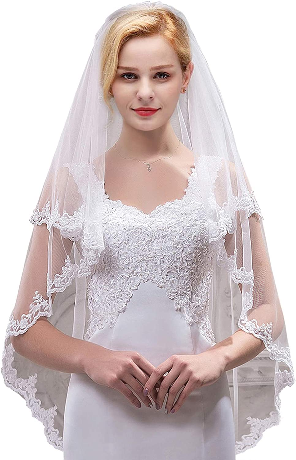MisShow Women's Short 18 Tier Tulle Sheer Lace Wedding Bridal Veil with Comb
