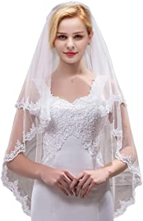 MisShow Women's Short 2 Tier Tulle Sheer Lace Wedding Bridal Veil with Comb