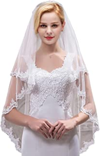Women's Short 2 Tier Tulle Sheer Lace Wedding Bridal Veil with Comb