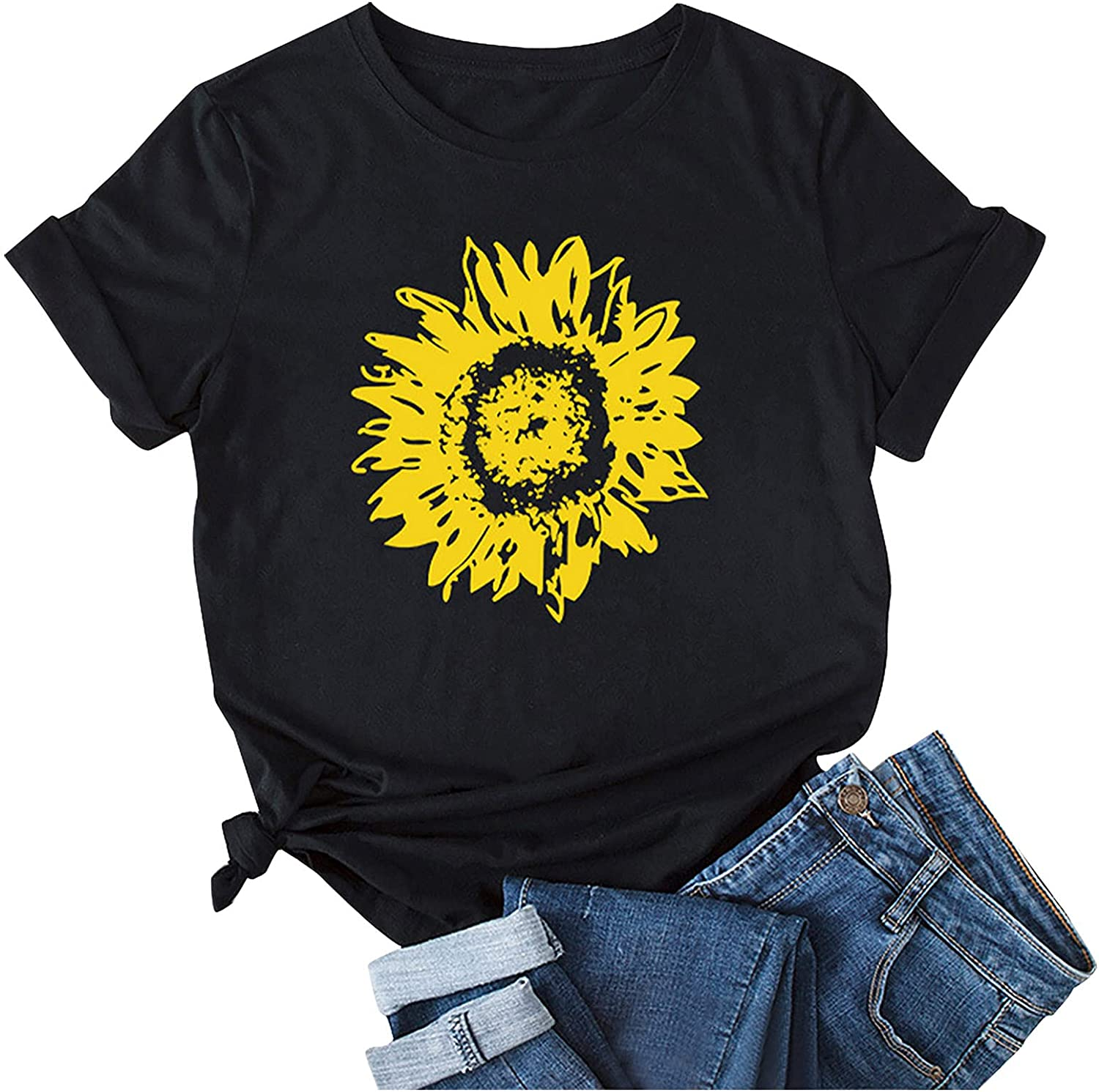 Sunflower Daisy Graphic Tee Womens Tops Summer Short Sleeve O Neck Loose T Shirt Fashion Blouse Casual Tunic Tops