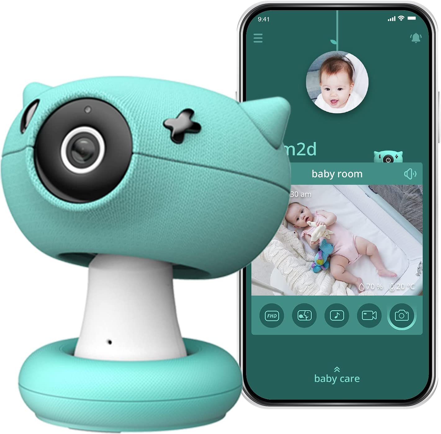 pixsee Smart Baby Monitor with Camera and Audio, Cry Recognition and Decoder, Temperature and Humidity Detection, 2-Way Talk, FHD Video 5MP Non-Distorting Camera, Non-Pixelated Night Vision and App…
