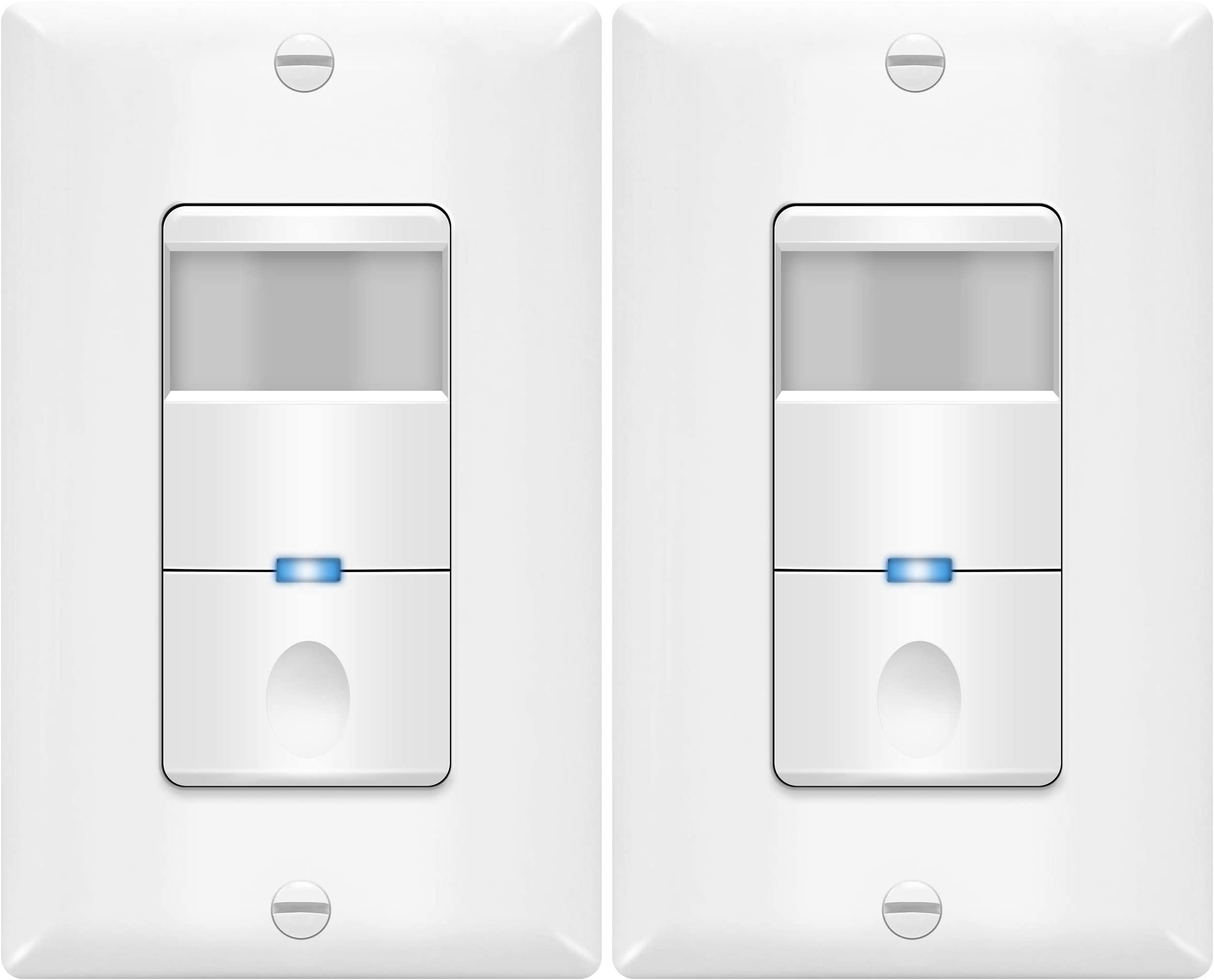 TOPGREENER Motion Sensor Switch, PIR Sensor Light Switch, Occupancy & Vacancy Modes, No Neutral Wire Required, Ground Wire Required, 4A, 250W LED/CFL, Single Pole, TDOS5-J-W-2PCS, White, 2 Pack
