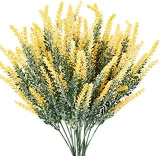 TENCHY Artificial Lavender Fake Flowers, 6 Bundles Yellow Lifelike Faux Foliage Plants Shrubs for Wedding Bouquets, Outsid...