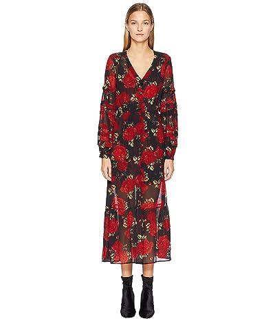 The Kooples Long Crepe Muslin Dress with a Sleeping Roses Print (Black) Women