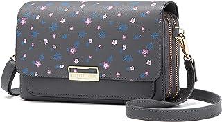 Kleine Crossbody Tasche Handy, Damen Umhängetasche Schultertasche PU Leder Tasche Brieftasche mit Kartenfächer Verstellbar...