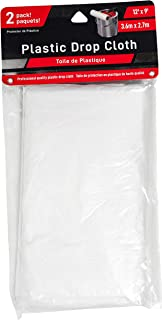 Jacent 12 x 9 Foot Painter's Plastic Drop Cloth, 2 Count per Pack - 1 Pack