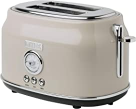 Haden DORSET 2 Slice, Wide Slot, Stainless Steel Toaster with Adjustable Browning Control and Cancel, Defrost and Reheat Settings in Putty Beige