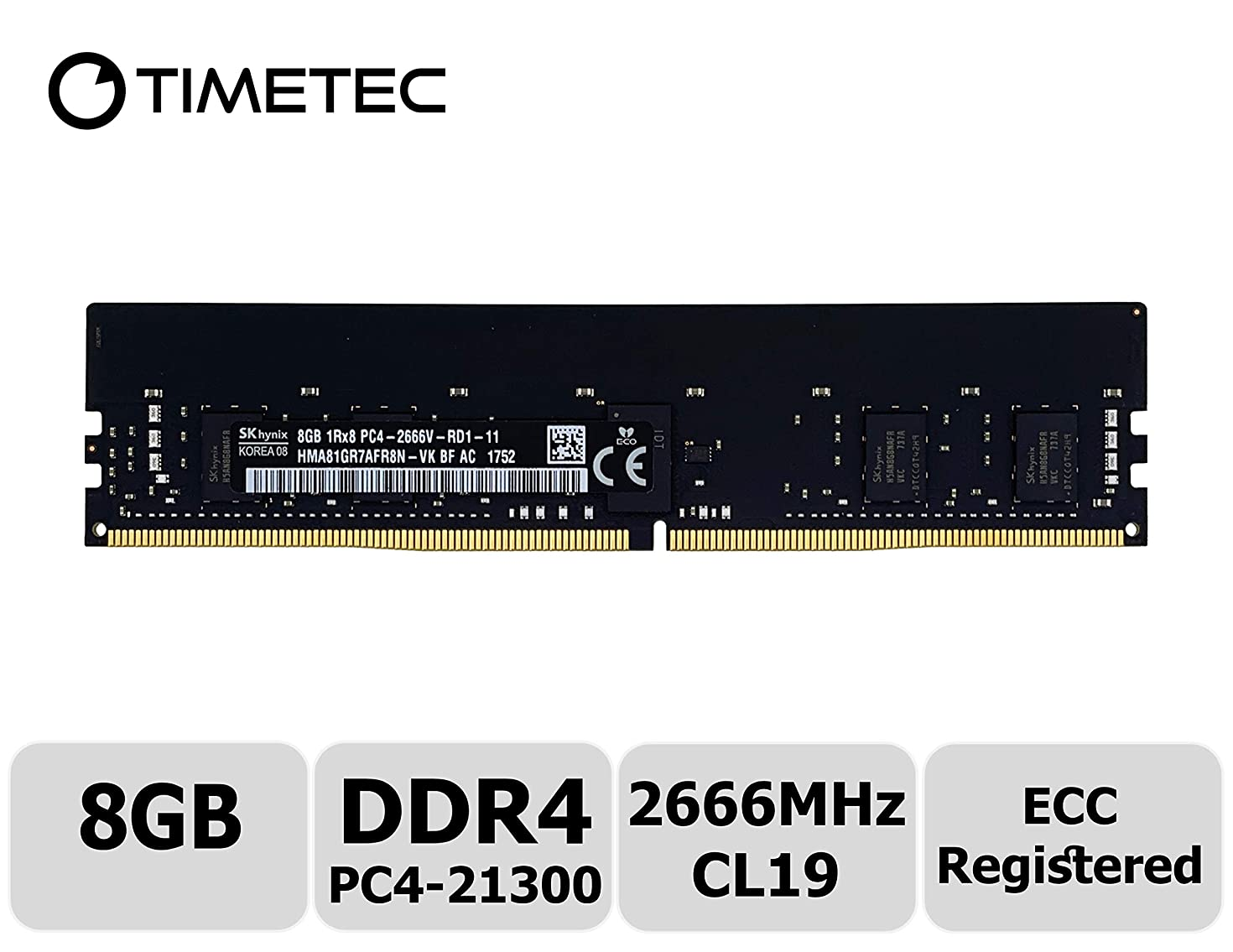 Timetec Hynix 8GB DDR4 2666MHz PC4-21300 Registered ECC 1.2V CL19 1Rx8 Single Rank 288 Pin RDIMM Server Memory RAM Module Upgrade (8GB)