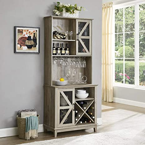 Amazon Com Home Source Bar Cabinet And Coffee Station Grey Wash Kitchen Dining