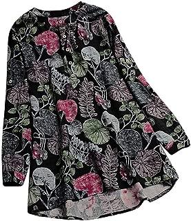 LISTHA Vintage Tunic Blouse Plus Size Women Long Sleeve Print Button Loose Tops