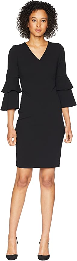Tiered Sleeve V-Neck Sheath Dress CD8C11NM