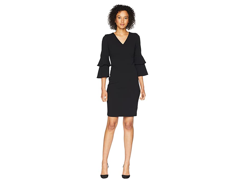 Calvin Klein Tiered Sleeve V-Neck Sheath Dress CD8C11NM (Black) Women