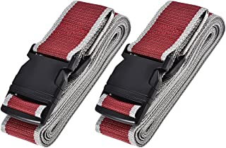 uxcell Luggage Straps Suitcase Belts with Buckle, 4Mx5cm Cross Adjustable PP Travel Packing Accessories, Red Gray 2Pcs