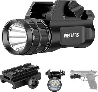 Weitars Pistol Light with Adjustable Picatinny Rail, Picatinny Flashlight 300 Lumens LED Weapon Light with Strobe, Fits Gl...