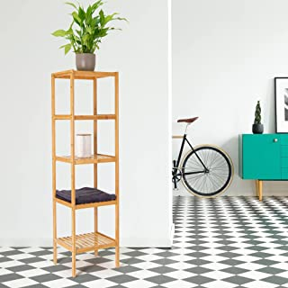 ML-Design Etagère en Bambou Debout Salle de Bain 5 Niveaux 37x33x140 cm Naturelle pour Couloir Salon Cuisine Étagère de Ra...