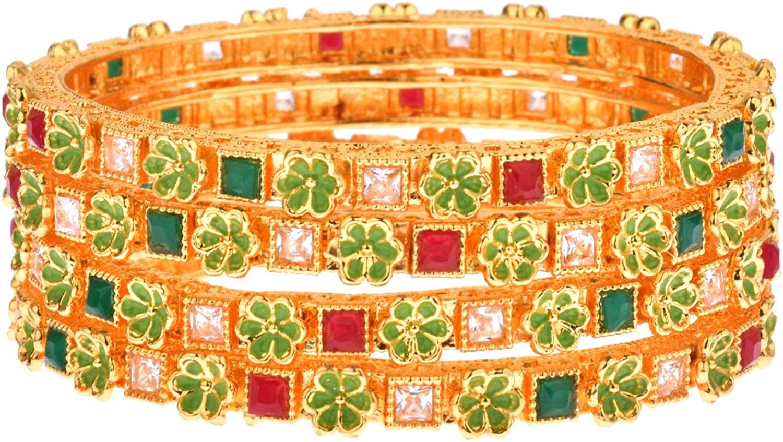 Efulgenz Indian Style Bollywood 14 K Gold Plated Kundan Crystal Rhinestone Wedding Bridal Bracelet Bangle Set Jewelry