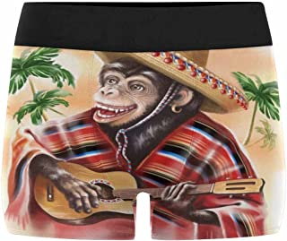 Boxer Briefs Men's Underwear Funny Monkey in A Mexican Traditional Dress Playing Guitar Art Painting (XS-3XL)