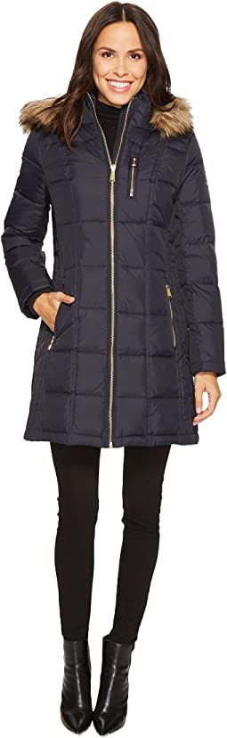 MICHAEL Michael Kors - Zip Front Down with Faux Fur Trim Hood M821883T