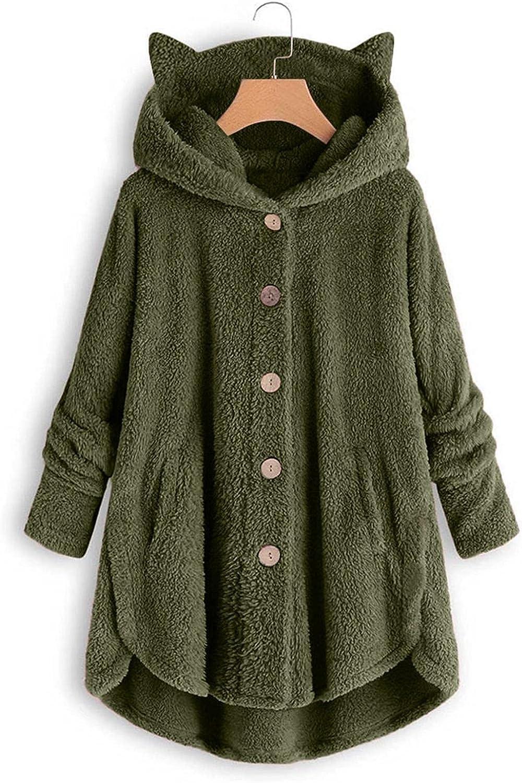 Toeava Women's Coat Oversized Sherpa Jacket,Faux Fuzzy Fleece Teddy Coat Solid Long Sleeve Sweatshirt Outwear Cardigan