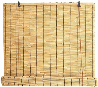 Blackout Curtain- Bamboo Roller Blinds,Natural Reed Curtain,Rain-Resistant Moisture-Proof Decorative Blinds,for Indoor/Outdoor,Size can be Customized ✔