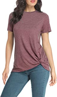 Women Short Sleeve Tunic Tops Comfortable Casual Side Twist Knotted Tops Short Sleeve Blouses for Women Summer