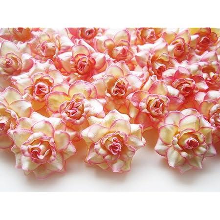 Silk Flower Heads 3 Cream Garden Roses with Beige Accents Artificial Flowers