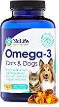 Pure Omega 3 Fish Oil for Dogs & Cats, Wild Caught Alaskan Salmon Oil Supplement for Pets, for Healthy Skin & Shiny Coat, ...