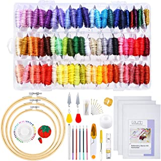 3 Pieces Aida Cloth 72 Color Embroidery Floss Threads with Organizer Box Embroidery Hoops and Cross Stitch Tools for Adults and Kids Beginners Caydo 164 Pieces Embroidery Kit with Instructions