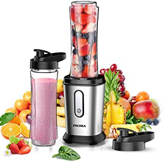 Batidora de Vaso, FOCHEA Mini Batidoras Smoothie 500W con 2 * 600ml Botella Tritan, Smoothie Maker para Frutas, Batidos, Vegetales, Libre de BPA