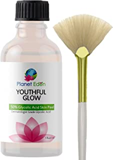Youthful Glow 50% Glycolic Acid Peel with Free Treatment Fan Brush- Full Strength Cosmetic Grade Unbuffered - coolthings.us