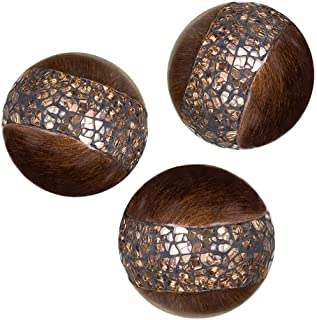 Creative Scents Schonwerk Walnut Decorative Orbs for Bowls and Vases (Set of 3) Resin..