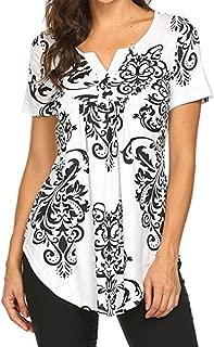 Women Summer Short Sleeve V Neck Paisley Floral Print Blouses Shirts Casual Irregular Hem Flowy Lightweight Tunic Tops