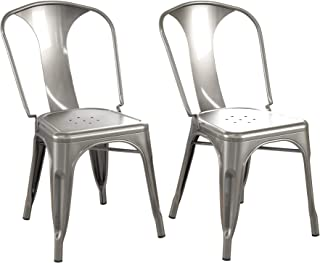 DHP Fiona Dining Chairs, Gunmetal Gray, Set of 2