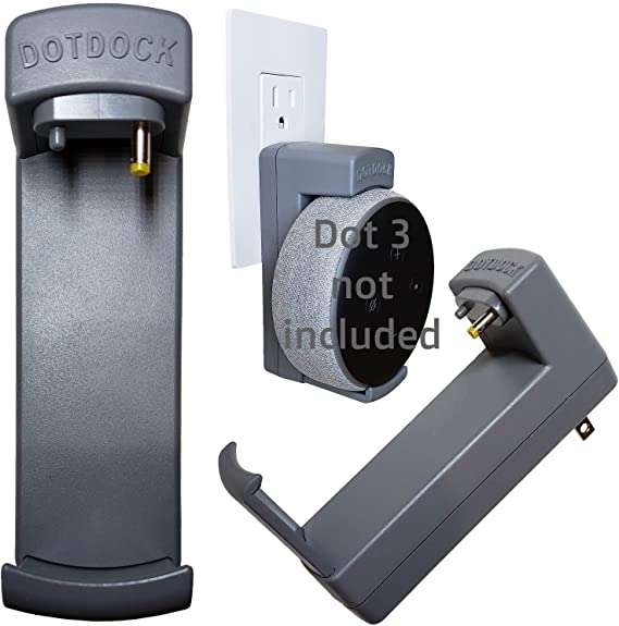 DotDock for Amazon Echo Dot 3rd Gen Smart Speaker Wall Mount Cord-Free Power Adaptor - TecScan DotDock (Grey)