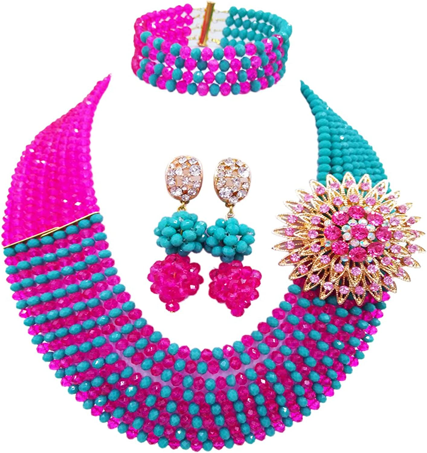 Laanc Jewelry 8 Rows Royal bluee Multicolor Gradient Crystal African Beads Nigerian Wedding Jewelry Sets