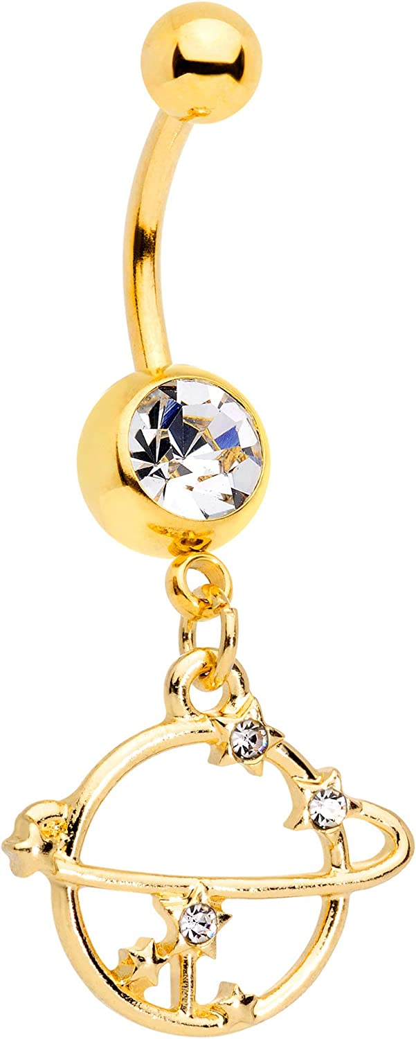 Body Candy Plated Steel Navel Ring Piercing Clear Accent Bright Planet Saturn Dangle Belly Button Ring