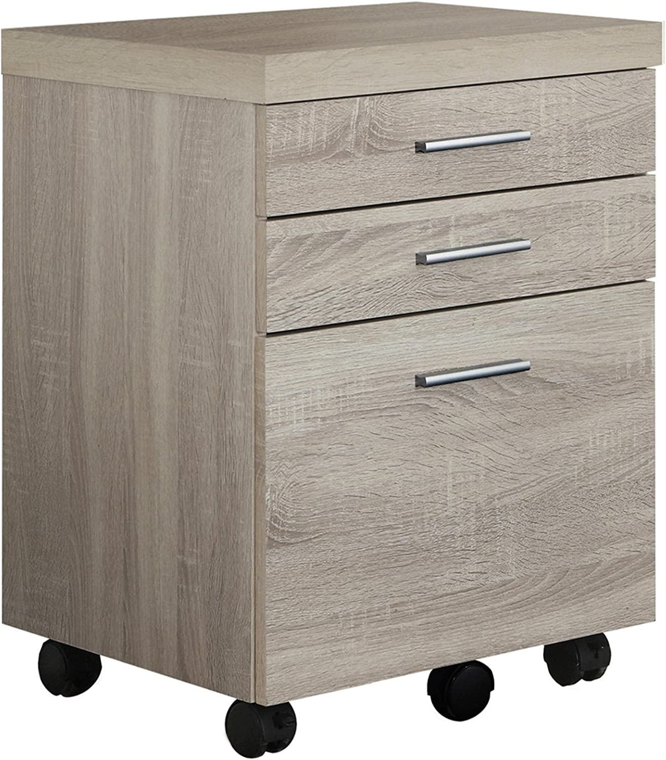 Monarch Specialties Filing Cabinet - 3 Drawer Natural On Castors, White