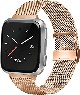 AK Compatible with for Fitbit Versa/Versa Lite/Versa SE/Versa2 Replacement Bands, Stainless Steel Mesh Sport Metal Wristband Loop Accessories for Women Men