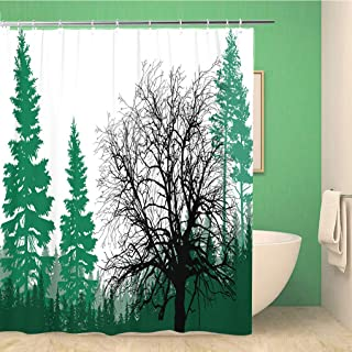 rouihot 72x72 Inches Shower Curtain Set with Hooks Illustration with Fir Forest Silhouettes is olated on Whitetree Silhouette Plant Home Decor Waterproof Polyester Fabric Bathroom Curtains