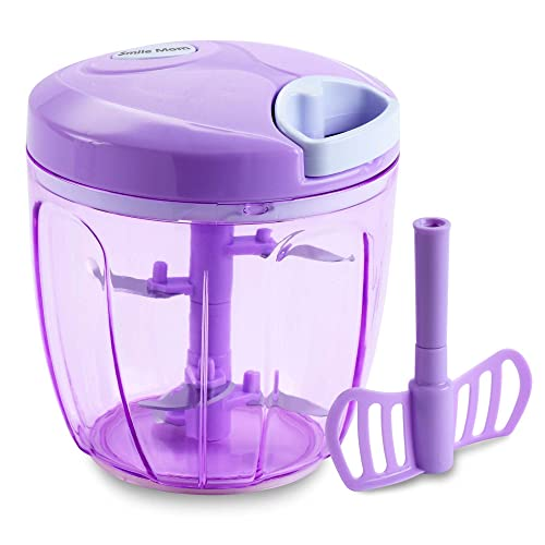 Smile Mom Turbo Vegetable Chopper, Cutter, Mixer for Kitchen with 5 Stainless Steel + Whisker Blade (900 ML)
