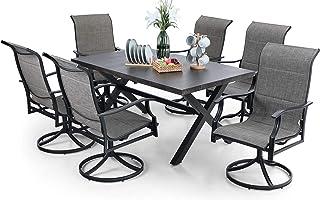 "PHI VILLA 7 PCS Patio Dining Set, 6 Padded 360-Degree Swivel Dining Chairs & 1 65.9"" x 38"" Rectangle Wood-Like Metal Dinin..."