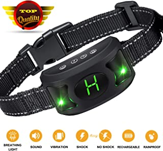 Bark Collar [2019 Upgrade Version] - Dog Bark Collar with Beep Vibration and Harmless Shock -No Bark collar for Small Medium Large Dog With Cool Breathing Light