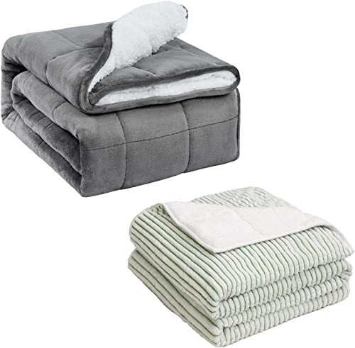 """wholesale Uttermara 15LBS Sherpa Fleece Weighted wholesale Blanket Dual Sided Color & Sherpa Striped Weighted wholesale Blanket, 60"""" x 80"""", Cozy Fluffy Blanket with Soft Plush Flannel online"""